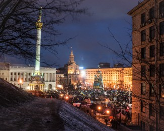 People gathered on Independence Square in Kiev, Ukraine, to attend a mass protest on Sunday.
