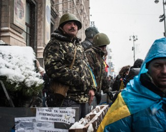 Pro-European Union activists  are protecting the entrance of  the Maidan camp.