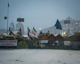Barricades defended by Pro-European Union activists on the Independence Square  in Kiev, Ukraine, Monday, Dec. 9, 2013.