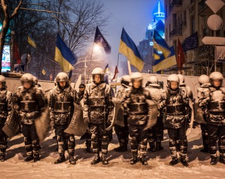 Ukrainian riot police block Pro-European Union activists. Kiev, Ukraine, Monday, Dec. 9, 2013.