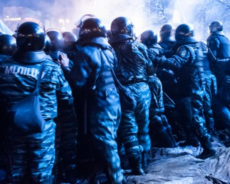 Riot police stormed Kiev protest camp in early morning raid. dec 11th 2013.