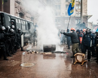 outside the Kyiv City Hall the  police riot  unsuccessfully tried to establish a presence overnight on Dec. 11.2013.