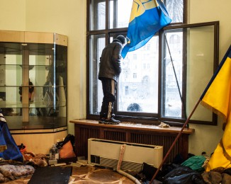 nside the Kyiv City Hall, after that the  police riot  unsuccessfully tried to establish a presence overnight