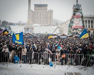 Demonstration in Kiev against Ukraine's rejection of the EU agreement. Independance place. Dec 11th 2013.