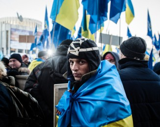 A Pro-government activist gathered  at the European square. Kiev. Dec 14th 2013.