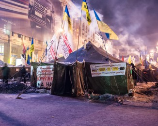EuroMaidan camp at night. Demonstration in Kiev against Ukraine's rejection of the EU agreement. Dec 11th 2013. Kiev. Ukraine.