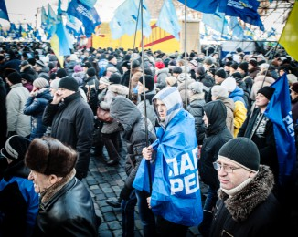 Pro-government activists gathered  at the European square. Kiev. Ukraine. Dec 14th 2013.