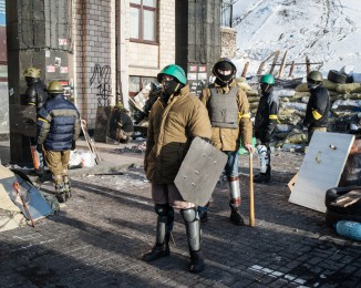 Anti-government protestors of Pravyi Sektor organisation take part in a training exercise in Independence Square on January 27, 2013 in Kiev, Ukraine.