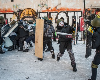 Anti-government protestors take part in a training exercise in Independence Square on January 29, 2013 in Kiev, Ukraine