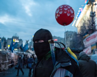 Activist of the anti-government opposition  on Independence Square in Kyiv on February 11th, 2014. Ukraine.