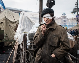 An pro-maidan activist hurted at one eye during the battle against the police. Maidan square. february 22th 2014. Kyiv. Ukraine.