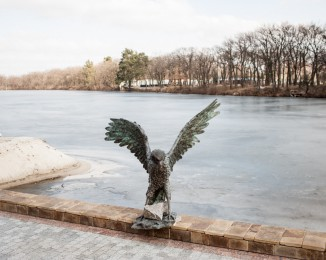 Eagle statue in  a construction site for luxurious mansions allegedly connected to former Ukkrainian president Yanukovich's family and close circle in Koncha Zaspa area near Kiev.  feb 24th. Kyiv. Ukraine.