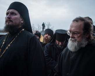 Orthodox priests during a religious ceremony at a pro-russian meeting. Sevastopol. Crimea. Ukraine. March 2.