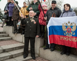 Pro-Russian supporters meeting in Sevastopol in March 2, 2014 in Simferopol, Ukraine.