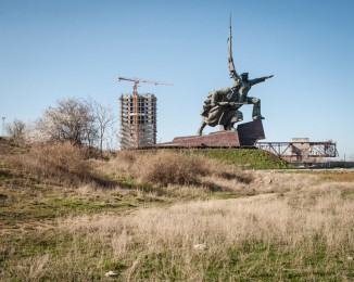 """The Soviet monument """"the marine and soldier"""" 45 meters high, is a memorial paying tribute to the fighters of World War II. March 3th 2014. Sevastopol. Crimea. Ukraine."""