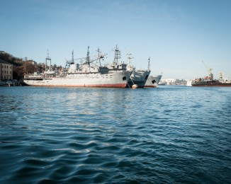 Russian military ships in Sevastopol's harbour.March 3th 2014. Sevastopol. Crimea. Ukraine.