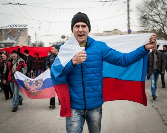 Pro-Russian supporters rally on March 1, 2014 in Simferopol, Ukraine. Crimea