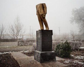 KOTOVSK - CHEMINOTS PARK- DECEMBER 19 2013 - 2:39PM The Lenin statue was destroyed in the night of December 8-9, 2013.