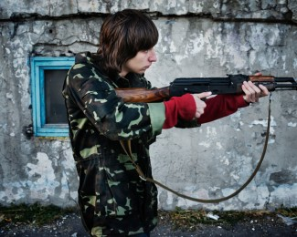 MARIUPOL- Sep 30th 2014 - 5:50PM Mariupol - Military training of Mariupol defenders brigade in an abandoned yachting school.