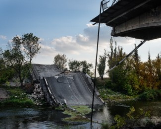 SLOVYANSK- Oct. 1st 2014- 4:53PM- A bridge sabotaged in early June 2014 on the road from Kharkov to Slovyansk during a fighting between pro-Ukrainian and pro-Russian forces to control the Slovyansk city in eas- tern Ukraine.